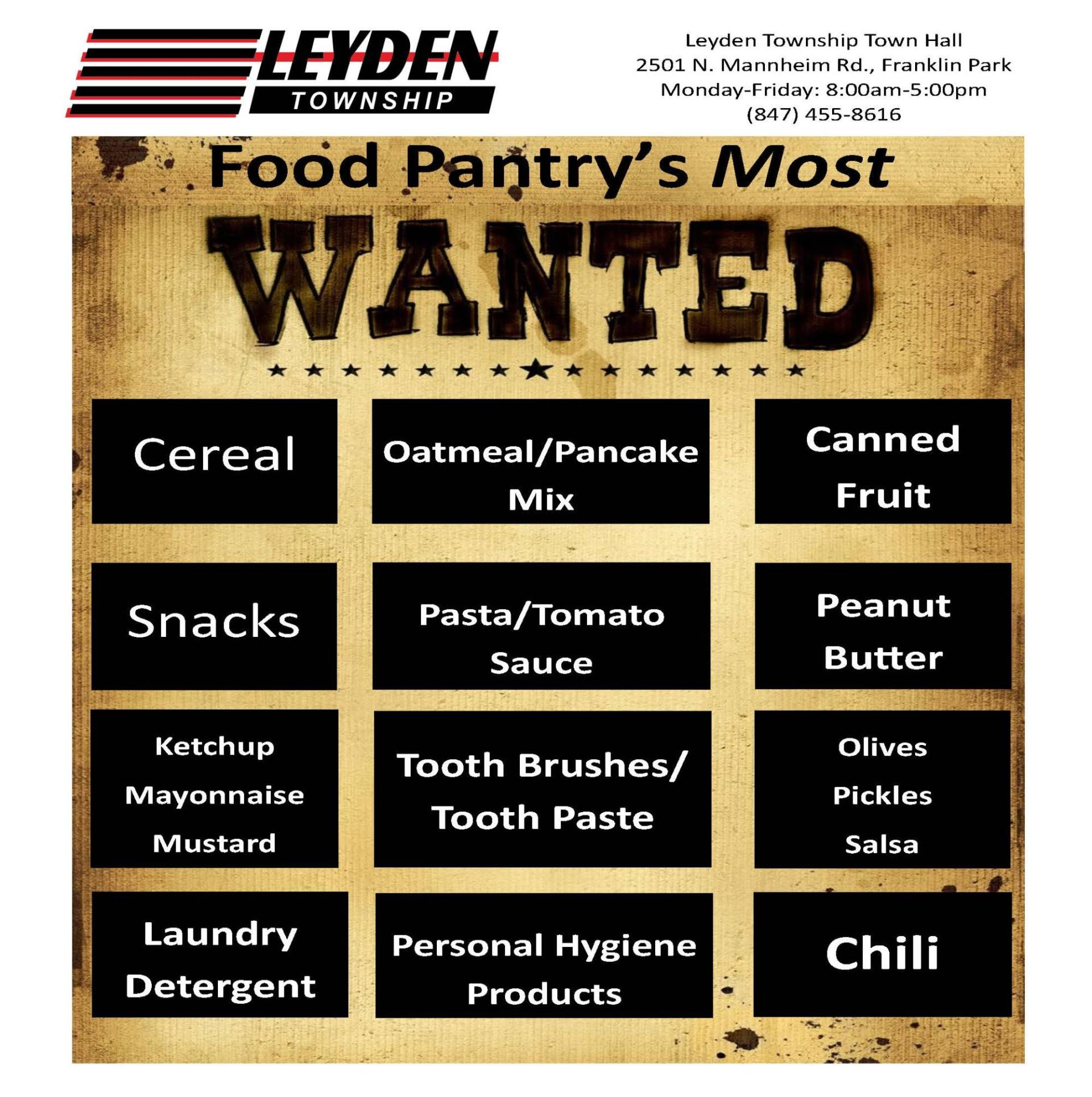 Food Pantry Most Wanted Items